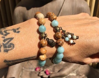 Love & Comfort Set | TWO Mala Bead Bracelets | Luxury Natural Gemstones | Picture Jasper | Amazonite | Love | Heart Soothing | Peace