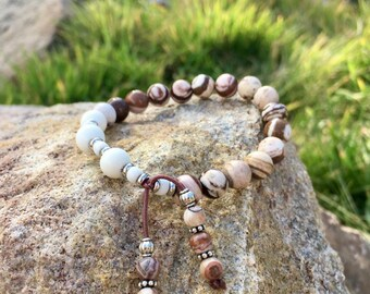 Heaven Sent Mala Bracelet | Zebra Jasper | White Magnesite | Luxury Gemstone Mala Beads | Reiki Healing | Calming | Grounding | Balancing