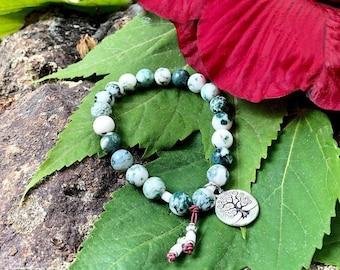 Healing Tree of Life Mala Bracelet | Beautiful Tree Agate Gemstones | Reiki Infused Mala Beads | Stabilizes Energy | Balance | Harmony