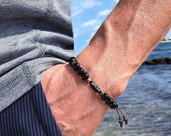Men's Zen as F#ck Onyx Mala Bracelet | Black Onyx Gemstones | Natural Coconut Shell | Reiki Healing Mala Beads | Protection | Eases Anxiety