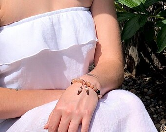Kissed By The Sun Mala Bracelet | AAA Sunstone | AAA Red Tigers Eye | Gemstone Mala Beads | Seasonal Depression | Optimism | Enthusiasm