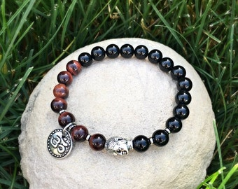 Men's Passion & Drive Mala Bracelet | AAA Grade Red Tigers Eye | Black Onyx | Mala Beads | Healing | Strength | Motivation | Inspiration