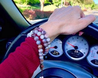 Warm Glow Triple Wrap Mala Bracelet | Laguna Lace Agate | Moonstone | Luxury Mala Beads | Heart Healing | Chakra Balance | Self Acceptance