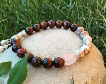 Passion Mala Bracelet | Red Tigers Eye | Rose Quartz | Agate | Mala Beads | Reiki Infused | Love | Sex | Romance | Vitality | Motivation