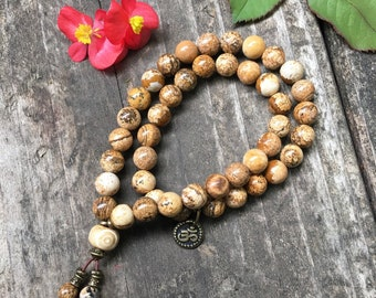 Double Comfort Mala Bracelet |AA Natural Picture Jasper Gemstones | Bohemian Mala Beads | Reiki Healing | Tranquility | Wholeness | Balance