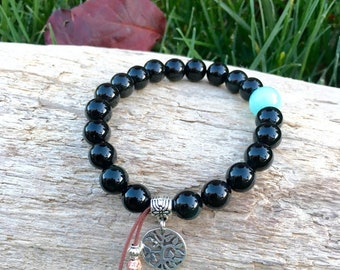 Raven Mala Bracelet | Exotic Obsidian Mala Beads | AAA Amazonite | Tree of Life Charm | Reiki Infused | Strength | Abundance | Protection