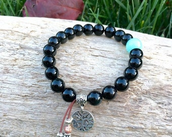 Raven Mala Bracelet | Exotic Obsidian Mala Beads | AAA Amazonite | Tree of Life Charm | Reiki Infused | Eases Worry | Strength | Protection