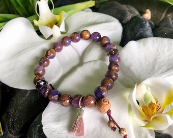 Cosmic Healer Mala Bracelet | Lavender Opal w/ Bronzite Marbled Quartz | Smoky Quartz | Unique Mala Beads | Purpose | Conscious Awareness