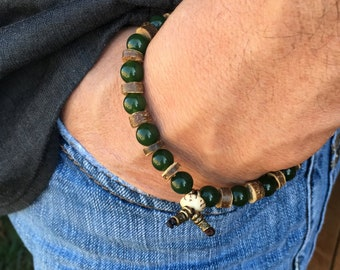 Men's Wealth Jade Mala Bracelet | Natural Gemstones | Reiki Infused Wrist Mala | Energy Healing | Mala Beads | Success | Abundance