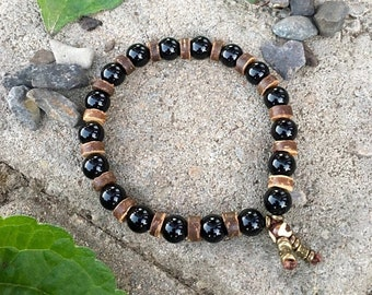 Men's Protection Bracelet | AAA Black Onyx | Coconut Shell | Mala Beads | Reiki Healing | Strength | Protects Energy Field From Negativity
