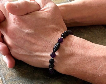 Men's Sober As F#ck Mala Bracelet | Luxury Amethyst | Black Onyx | AAA Gemstones | Reiki Healing Mala Beads | Strength | Clarity | Resolve
