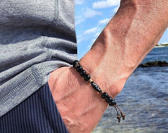 Men's Zen as F#ck Onyx Mala Bracelet | Black Onyx Gemstones | Natural Coconut Shell | Reiki Healing Mala Beads | Protection | Eases Anxiety
