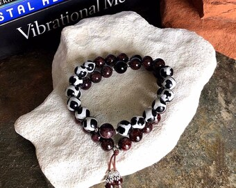 Breath of Fresh Air Double Mala Bracelet | Onyx | Brazilian Red Garnet | Dzi Agate | Alleviates Worry | Energizes the Body Mind & Spirit