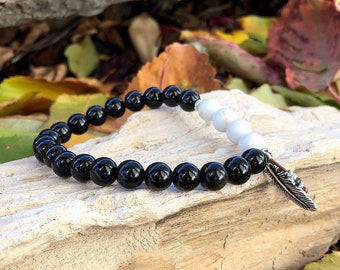 Men's Old Soul Mala Bracelet | Black Obsidian | White Magnesite | Healing Mala Beads | Protection | Peace | Comfort | Growth | Expansion