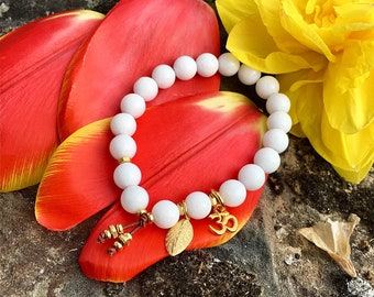 Positive Change Mala Bracelet | White Onyx Gemstones | Mala Beads | Om | Leaf | Reiki Infused | Confidence | Moving Forward | Transition