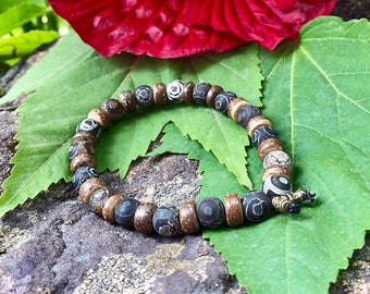 Ancient Healing Mala Bracelet | Tibetan Dzi Agate Gemstones | For Men or Women | Unique Mala Beads | Past Life Clearing | Balance | Harmony