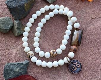 Natural Zen Double Mala Bracelet   White Magnesite Gemstones   Agate   Cat's Eye   Luxury Mala Beads   Clarity   Optimism   Self Confidence