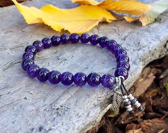 Anxiety Angel Mala Bracelet | AAA Luxury Amethyst Gemstones | Reiki Infused Mala Beads | Clarity | Peace | Protection | Anxiety Relief