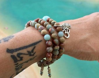 Aqua Triple Mala Bracelet | Luxury Aqua Terra Jasper Gemstones | Reiki Infused Mala Beads | Om | Buddha | Heals Emotional Wounds | Peace