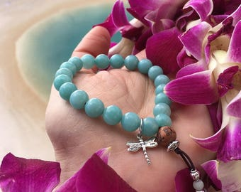 Divine Dragonfly Mala Bracelet | Beautiful Mala Beads | AA Amazonite Gemstones | Sterling Silver Charm | Healing | Abundance | Hope | Dreams