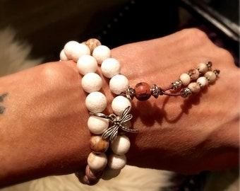 Moksha Double Mala Bracelet | Healing Mala Beads | White Coral | Brazilian Crazy Lace Agate | Reiki Infused Gemstones | Happy New Beginnings