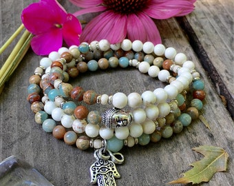 Shanti Mala | Beautiful AAA Aqua Terra Jasper Gemstones | Wrist or Neck Mala | Luxury Mala Beads | Magnesite | Healing | Peace | Comfort