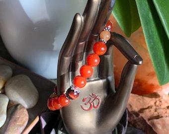 Infinite Courage Mala Bracelet | AAA Mala Beads | Red Carnelian | Red Tigers Eye | Orange Adventurine | Confidence | Boosts Physical Energy