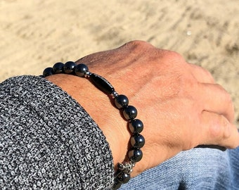 Unf#ckwithable Pain Relief Bracelet | Men's Mala Beads | Dark Grey Hematite | Black Onyx | Reiki Infused Wrist Mala | Eases Pain | Addiction