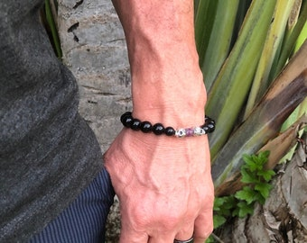 Men's Imperial Mala Bracelet | Black Onyx | Tourmaline | Gemstone Mala Beads | Sugar Skulls | Eases Fear | Strength | Confidence | Purpose