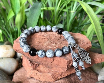 Optimism Mala Bracelet | Luxury Gemstone Mala Beads | Black Onyx | Silvery Gray Crazy Lace Agate | Happiness | Laughter | Joy | Positivity