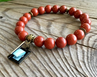 Turn the Page Anti-Stress Mala Bracelet | Luxury AAA Red Jasper | Reiki Infused Mala Beads | Surprise Affirmation Scroll | Anxiety Relief