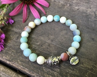 Abundance of Gratitude Mala Bracelet | Frosted Multi Amazonite | Luxury Gemstone Mala Beads | Reiki Healing | Communication | Abundance