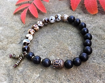 Men's Tashi Mala Bracelet | Wrist Mala | Mala Beads | Matte Black Onyx | Dzi Agate | Meditation | Yoga | Health | Prosperity | Protection