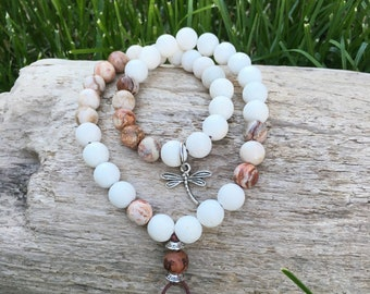 Moksha Double Mala Bracelet | Healing Mala Beads | White Coral | Brazilian Crazy Lace Agate | Reiki Infused Gemstones | Happy New Beginnings