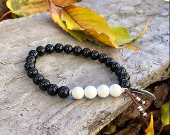 Men's Old Soul Mala Bracelet | Obsidian | Magnesite | Reiki Infused | Healing Mala Beads | Protection | Peace | Comfort | Growth | Expansion