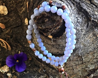 Ethereal Mala Bracelet | Beautiful AAA Grade Blue Lace Agate | Natural Gemstones | Reiki Infused Mala Beads | Angel Guidance | Tranquility