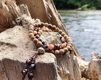 Sandalwood Hamsa Triple Wrap Mala Bracelet | Beautiful Authentic Sandalwood | Agate | Garnet | Bohemian Mala Beads | Grounding | Relaxing