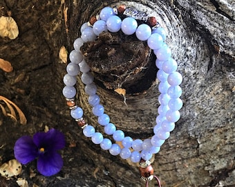 Ethereal Mala Bracelet | Beautiful AAA Grade Blue Lace Agate | Natural Gemstones | Reiki Infused Mala Beads | Angel Guidance | Uplifting