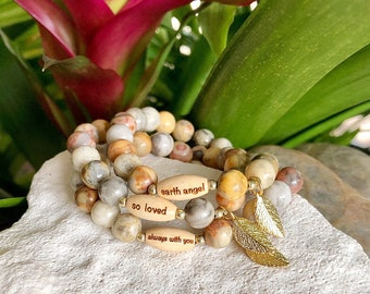 I Treasure You Mala Bracelets | Your Choice | Crazy Lace Agate Gemstones | Reiki Healing Mala Beads | Unique Gifts | Happiness | Gratitude