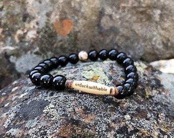Men's Unf#ckwithable Mala Bracelet | Reiki Infused Mala Beads | Yoga | Meditation | Black Onyx | Confidence | Physical & Emotional Strength