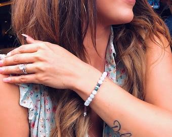 High Consciousness Mala Bracelet | Aquamarine | Azurite | Authentic Gemstone Mala Beads | Raises Vibration | Spiritual Intuition | Peace