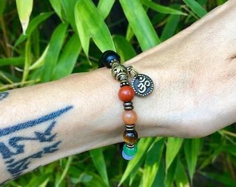 Seven Chakra Mala Bracelet | Onyx | Red Jasper | Adventurine | Tigers Eye | Lapis | Blue Lace Agate | Amethyst | Balances Heals ALL Chakras
