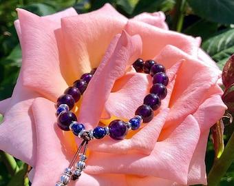 Ascension Mala Bracelet | AAA Brazilian Amethyst | AAA Blue Lapis Lazuli | Reiki Mala Beads | Clarity | Spiritual Expansion | Anxiety Relief