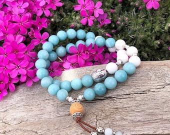 Dharma Double Mala Bracelet | Luxury Amazonite | White Magnesite | Reiki Infused | Confidence | Abundance | Self Love | Eases Worry