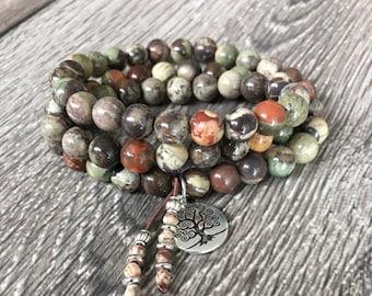 Harmony Triple Wrap Mala Bracelet | Rainforest Agate | Healing Mala Beads | Reiki Infused Gemstones | Blessings | Balances ALL Chakras