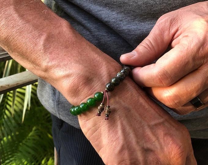 Featured listing image: Men's Prosperity Mala Bracelet | Jade | Dragon's Blood Jasper | High Vibrational | AA Grade Gemstones | Endurance | Wealth | Motivation