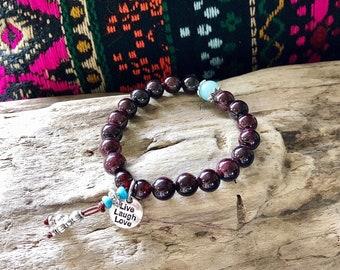 Kama Mala Bracelet | Brazilian Red Garnet | Amazonite | AAA Gemstones | Reiki Mala Beads | Yoga | Live Love Laugh | Magic | Passion | Energy