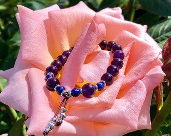 Ascension Mala Bracelet   AAA Purple Amethyst   AAA Blue Lapis Lazuli   High Vibrational Reiki Infused Mala Beads   Spiritual Expansion