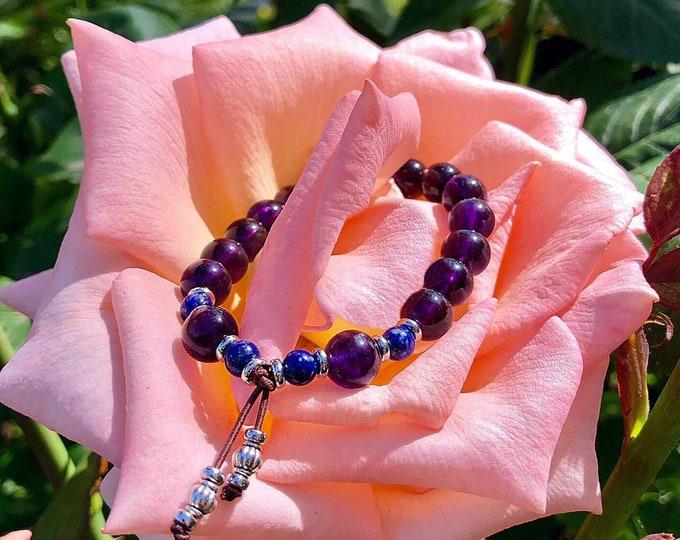 Featured listing image: Ascension Mala Bracelet | AAA Purple Amethyst | AAA Blue Lapis Lazuli | High Vibrational Reiki Infused Mala Beads | Spiritual Expansion