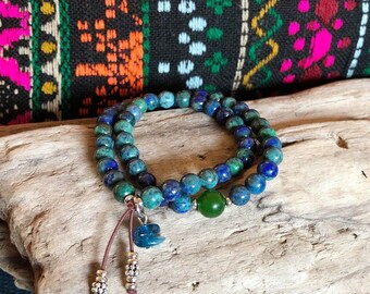 Life Purpose Mala Bracelet | Luxury Gemstone Mala Beads | Azurite | Jade | Apatite | Reiki Infused | Healing | Enlightenment | True Purpose